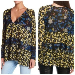 free people yellow blue floral isabelle tunic top